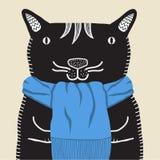 Un gato sonriente en una bufanda azul imágenes de archivo libres de regalías