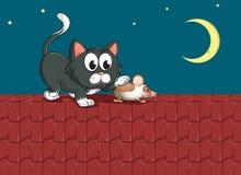 Un gatto e un topo al tetto illustrazione di stock