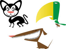 Un gatto, un cane e un pappagallo Immagine Stock