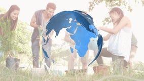 Un giardinaggio degli amici e del globo illustrazione vettoriale