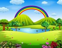 Un giardino del colorfull con il bello arcobaleno illustrazione vettoriale