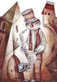 Un giocatore di sax di tenore Immagini Stock Libere da Diritti
