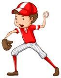 Un giocatore di baseball maschio Fotografia Stock Libera da Diritti