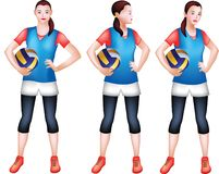 Un giocatore di pallavolo femminile in un abbigliamento sportivo blu illustrazione vettoriale