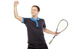 Un giocatore felice della zucca che celebra un segno Fotografie Stock