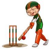 Un giocatore maschio del cricket Immagine Stock Libera da Diritti