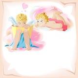 Un giorno dei due biglietti di S. Valentino di angelo Fotografia Stock Libera da Diritti