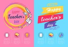 Un giorno di due insegnanti dei manifesti sull'illustrazione di vettore illustrazione di stock