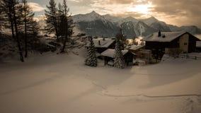 Un giorno di inverno nelle alpi svizzere Fotografia Stock Libera da Diritti