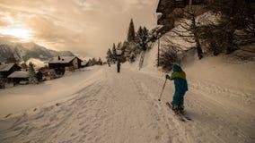 Un giorno di inverno nelle alpi svizzere Fotografie Stock Libere da Diritti