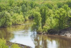 Un giorno di molla caldo nella valle della foresta del fiume russo con un pendio sabbioso ripido paesaggio Immagine Stock