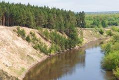Un giorno di molla caldo nella valle della foresta del fiume russo con un pendio sabbioso ripido Paesaggio soleggiato Fotografie Stock