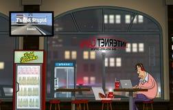 Un giorno divertente al cybercaffè (notte) Fotografie Stock Libere da Diritti