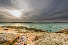 Un giorno nuvoloso in Lysekil Fotografia Stock