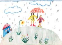 Un giorno piovoso - disegno dei bambini Fotografie Stock Libere da Diritti
