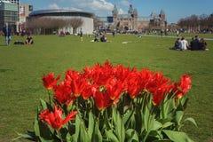 Un giorno soleggiato, la gente sull'area di riposo del museo in Amsterd Fotografie Stock Libere da Diritti