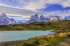 Un giorno soleggiato a Torres del Paine Park - il Cile Fotografia Stock