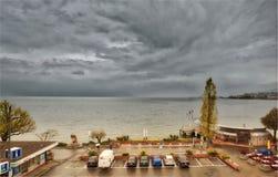 Un giorno tempestoso sopra il lago Lemano Fotografia Stock Libera da Diritti