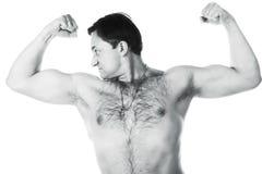 Un giovane con un bare-chested Immagini Stock Libere da Diritti