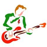 Un giovane gioca una chitarra rossa, musicista moderno illustrazione di stock