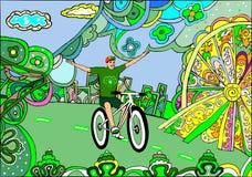 Un giovane motociclista conduce una bicicletta illustrazione vettoriale