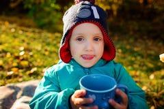 Un giovane ragazzo beve da una tazza ad un picnic immagini stock