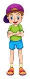 Un giovane ragazzo sorridente con un cappuccio Immagini Stock Libere da Diritti