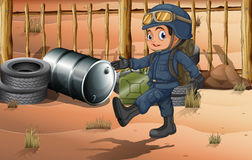 Un giovane soldato al deserto Fotografie Stock Libere da Diritti