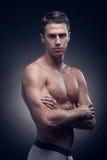 Un giovane uomo adulto, Caucasian, modello di forma fisica, ente muscolare, SH immagine stock libera da diritti