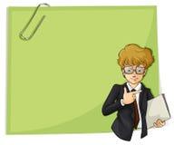 Un giovane uomo d'affari bello davanti ad un contrassegno vuoto Fotografia Stock Libera da Diritti