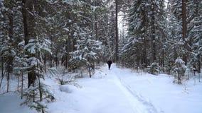 Un giovane in vestiti neri sta correndo lungo un sentiero nel bosco innevato archivi video