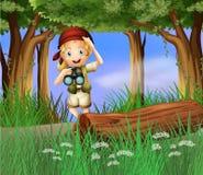 Un girl scout en el camino Fotos de archivo