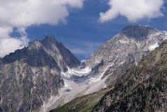 Un glaciar en la frontera italiana austríaca imagenes de archivo