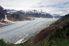 Un glaciar hermoso que enrolla abajo un moutain Imagen de archivo libre de regalías