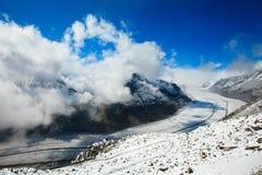 Un glaciar hermoso y más grande, glaciar de Aletsch fotos de archivo libres de regalías