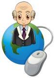Un globe avec un vieil homme chauve et une souris d'ordinateur Images stock