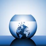 Un globe coulant dans l'eau illustration de vecteur
