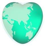 Un globe du monde sous forme de symbole de coeur Concept pour le voyage affectueux, ou aimer le monde illustration de vecteur