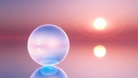 Un globe en cristal surréaliste sur l'horizon Image libre de droits