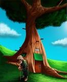 Un gnome dans l'avant sa cabane dans un arbre magique Photos stock