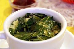 Un golpe de la te con las hojas de la coca Imagenes de archivo
