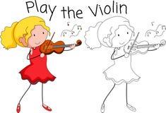 Un grafico del musicista del violino illustrazione di stock