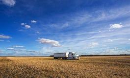 Un grain transportant semi le camion s'est garé dans un domaine moissonné Photographie stock