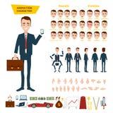 Un gran sistema para la animación de un carácter del hombre de negocios en un fondo blanco Animación de los sonidos, emociones, g Imagenes de archivo