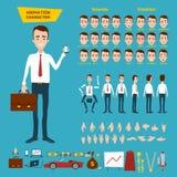 Un gran sistema para la animación de un carácter del hombre de negocios en un fondo blanco Animación de los sonidos, emociones, g Foto de archivo