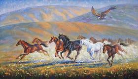 Un grand aigle au-dessus du troupeau courant de chevaux Auteur : Nikolay Sivenkov illustration de vecteur