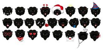 Un grand ensemble de têtes de petits chiens avec différentes émotions et différents objets Illustration de Vecteur