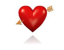 Un grand et rouge coeur avec la flèche d'or illustration stock