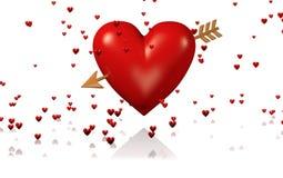 Un grand et rouge coeur avec la flèche et les un bon nombre d'or de coeurs minuscules illustration stock