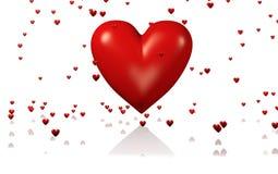 Un grand et rouge coeur avec un bon nombre de coeurs minuscules illustration stock